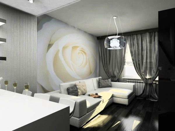 черно белый интерьер гостиной фото 6