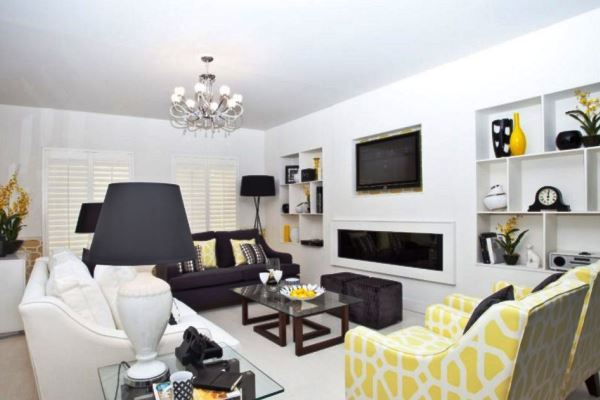 черно белый зал в квартире фото