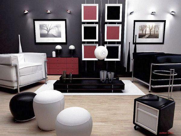 гостиная в черно белом стиле фото
