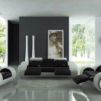 гостиная в черно белом цвете фото 13