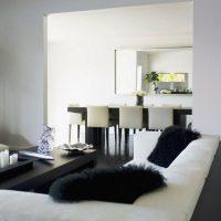 гостиная в черно белом цвете фото 14