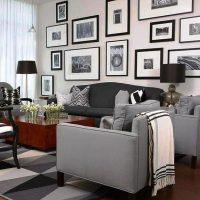 гостиная в черно белом цвете фото 28