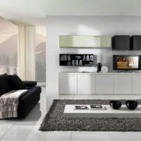 гостиная в черно белом цвете фото 29