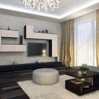 гостиная в черно белом цвете фото 32