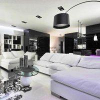 гостиная в черно белом цвете фото 33