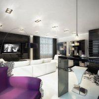 гостиная в черно белом цвете фото 36
