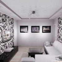 гостиная в черно белом цвете фото 45