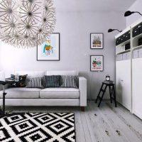 гостиная в черно белом цвете фото 46