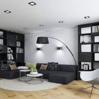 гостиная в черно белом цвете фото 47