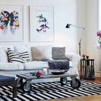 гостиная в черно белом цвете фото 9