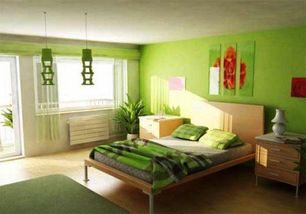 спальня в зеленых тонах фото 12