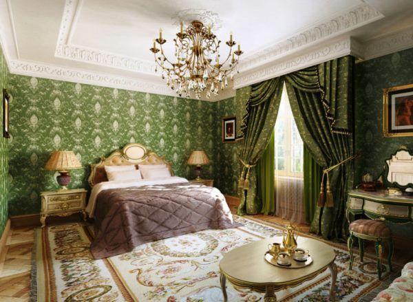 спальня в зеленом цвете дизайн фото
