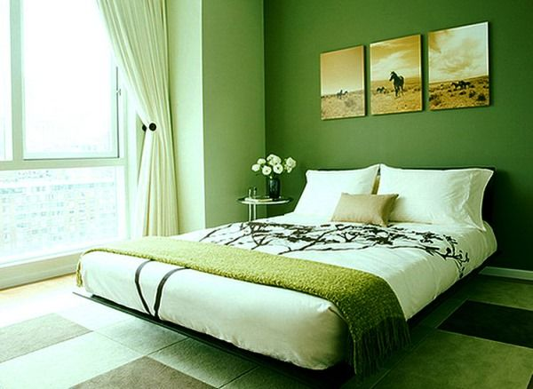спальня в зеленых тонах фото 20