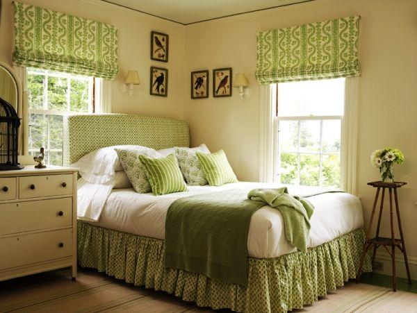 интерьер спальни в зеленых тонах фото