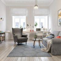 гостиная в скандинавском стиле фото 45
