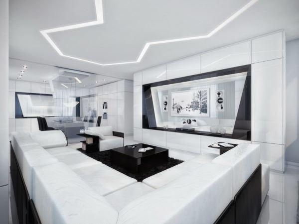 интерьер гостиной в стиле хай тек фото