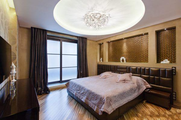 натяжные потолки в спальне дизайн фото