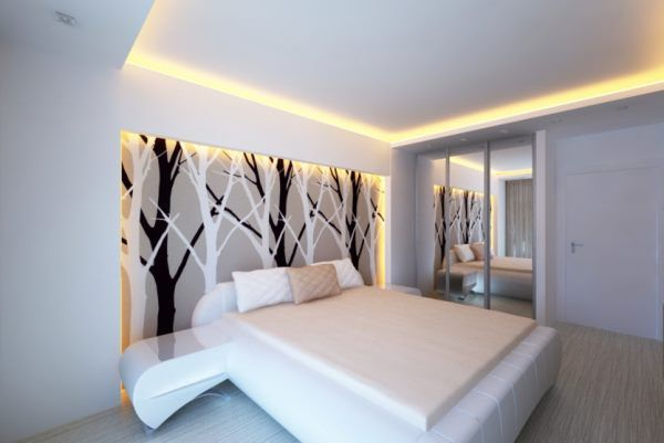 натяжные потолки в маленькой спальне фото