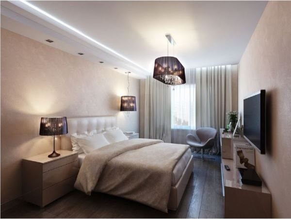 образцы натяжных потолков для спальни фото