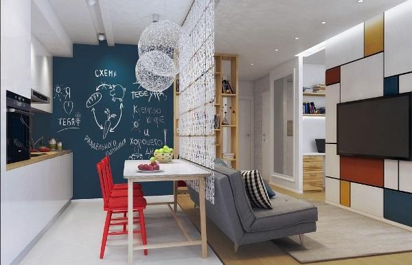 Дизайн однокомнатной квартиры 40 кв м фото разделить на две зоны