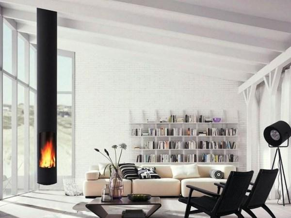 гостиная с камином минимализм