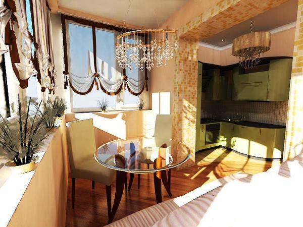 присоединение балкона к кухне фото