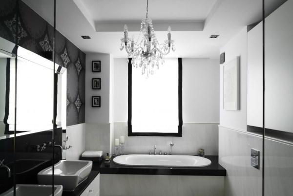 черно белый интерьер ванной комнаты фото 14