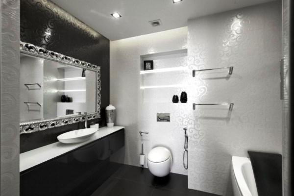 черно белый интерьер ванной комнаты фото 16