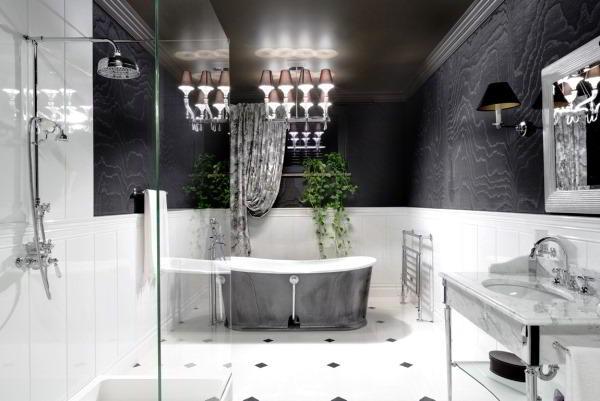 черно белый интерьер ванной комнаты фото 17