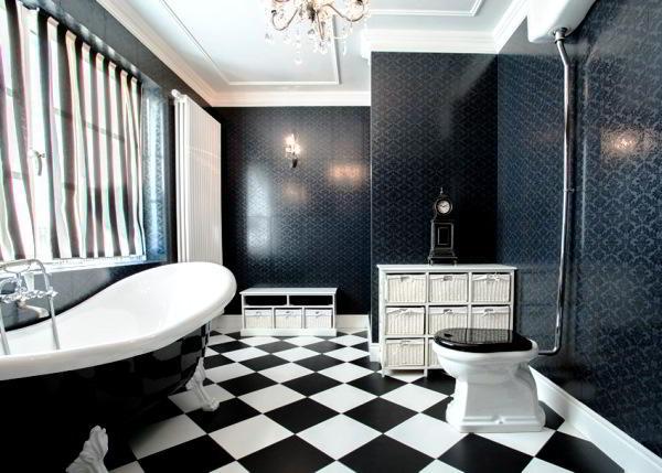 черно белая плитка в ванной комнате фото 5