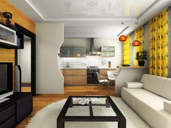 гостиная совмещенная с кухней дизайн фото 10