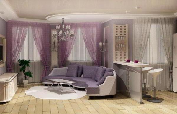гостиная совмещенная с кухней дизайн фото 2