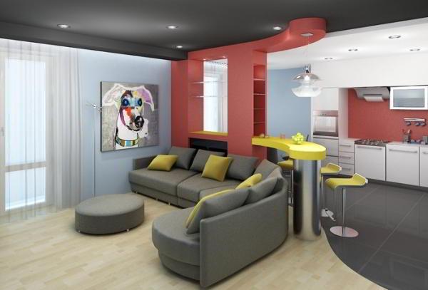 гостиная совмещенная с кухней дизайн фото 7