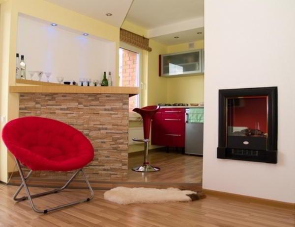 гостиная совмещенная с кухней дизайн фото 8