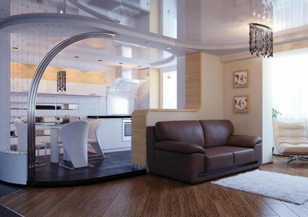 гостиная совмещенная с кухней дизайн фото 9