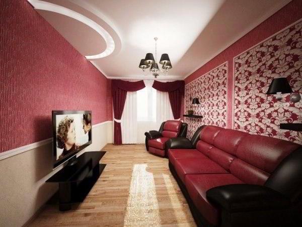 идеи комбинирования обоев в гостиной фото 11