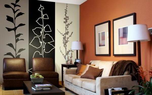 идеи комбинирования обоев в гостиной фото 9