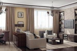 комбинирование обоев в гостиной фото 44