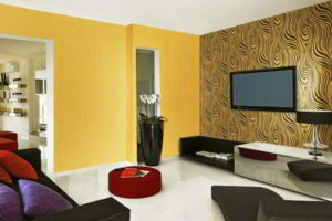 комбинирование обоев в гостиной фото 60