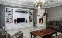 угловой камин в интерьере гостиной фото
