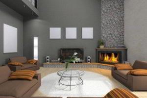 угловые камины в интерьере гостиной фото 36