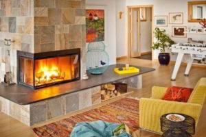 угловые камины в интерьере гостиной фото 8