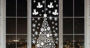 украшение окон на новый год