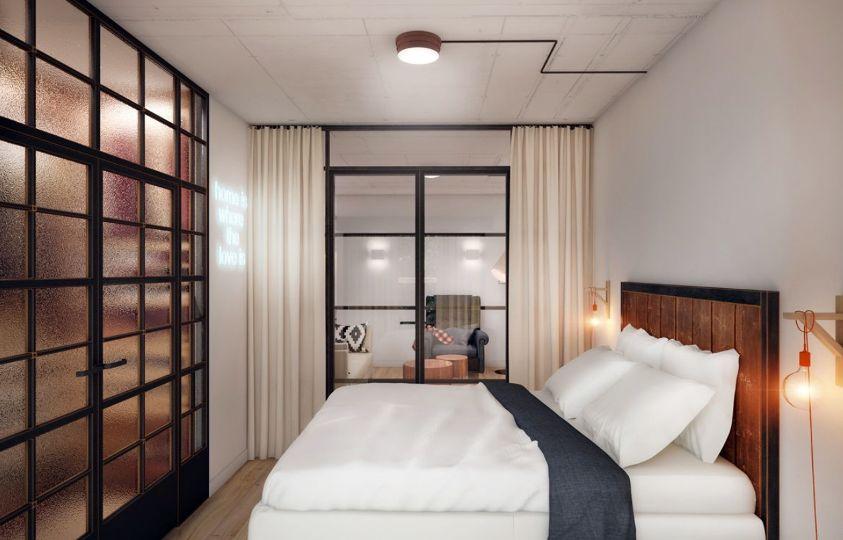 спальня в стиле лофт в светлых тонах
