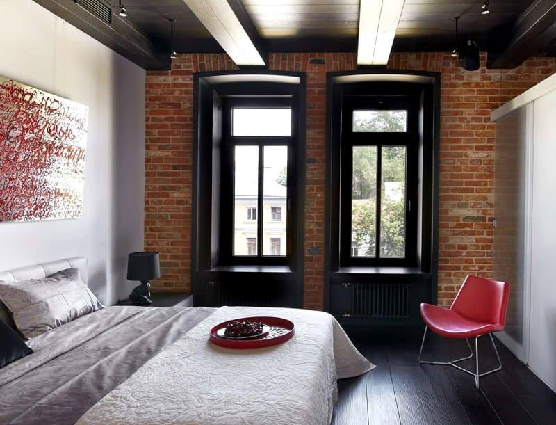 спальня в стиле лофт дизайн фото 16