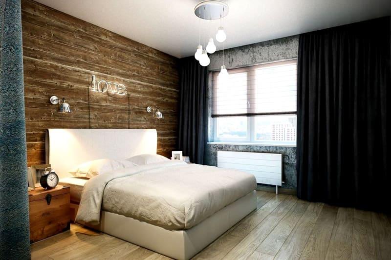 спальня в стиле лофт дизайн фото 17