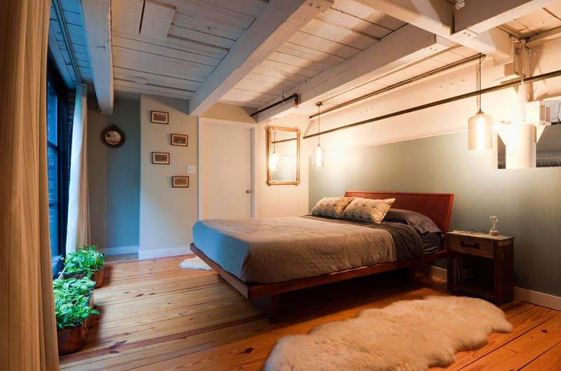 спальня в стиле лофт белый