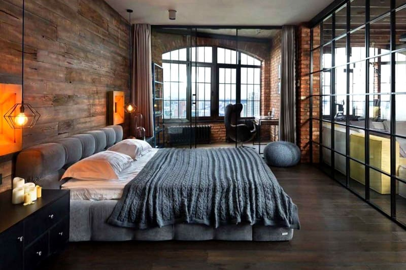 стиль лофт в интерьере квартиры фото спальня