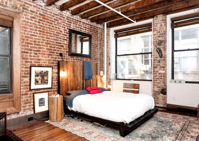 спальня в стиле лофт 12 кв м