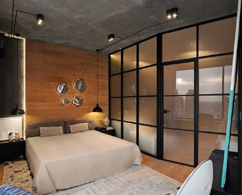 маленькая спальня в стиле лофт в квартире
